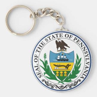 Pennsylvania Great Seal Basic Round Button Keychain