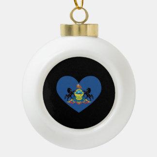 PENNSYLVANIA HEART DESIGN -  .png Ceramic Ball Christmas Ornament