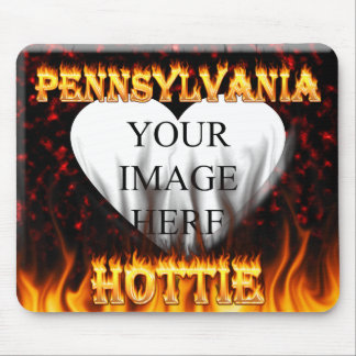 Pennsylvania Hottie fire and red marble heart Mouse Pad