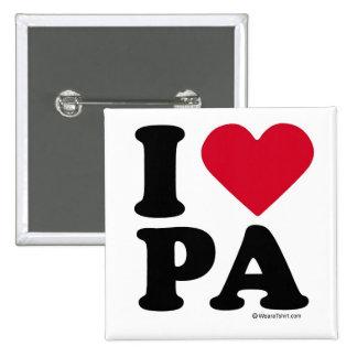 """PENNSYLVANIA - """"I LOVE PA"""" """"I LOVE PENNSYLVANIA""""  2 INCH SQUARE BUTTON"""
