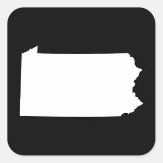 Pennsylvania in White and Black Square Sticker