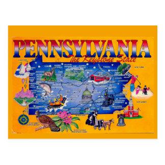 Pennsylvania Keystone State Map Postcard