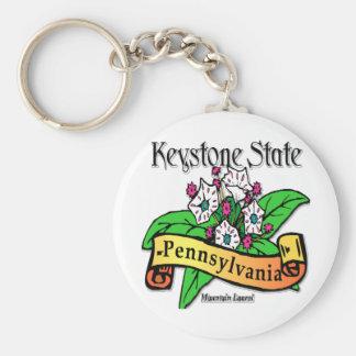 Pennsylvania Keystone State Mountain Laurel Basic Round Button Keychain