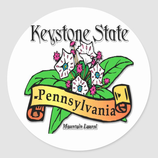 Pennsylvania Keystone State Mountain Laurel Classic Round Sticker