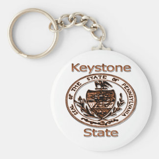 Pennsylvania Keystone State Seal Basic Round Button Keychain