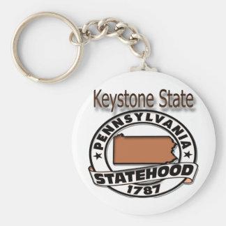 Pennsylvania Keystone Statehood Basic Round Button Keychain