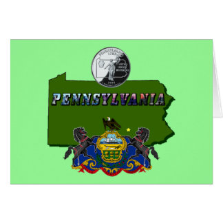 Pennsylvania Map, Quarter, Flag and Picture Text Greeting Card