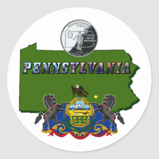 Pennsylvania Map, Quarter, Flag and Picture Text Classic Round Sticker