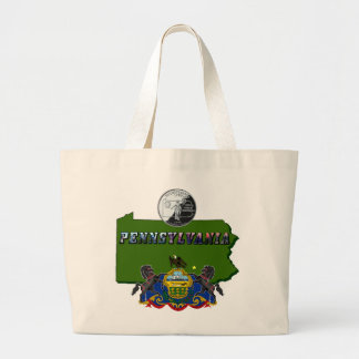 Pennsylvania Map, Quarter, Flag and Picture Text Large Tote Bag