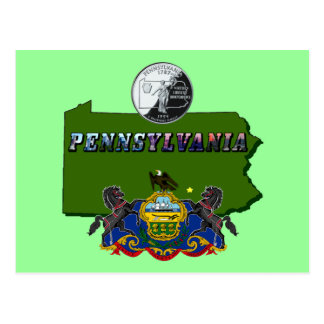 Pennsylvania Map, Quarter, Flag and Picture Text Postcard