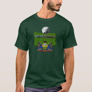 Pennsylvania Map, Quarter, Flag and Picture Text T-Shirt