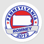 Pennsylvania Mitt Romney Round Stickers