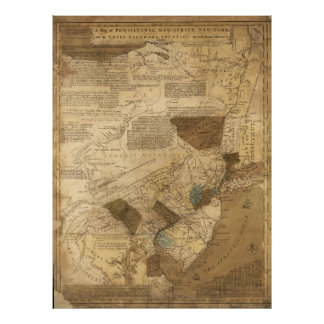 Pennsylvania New Jersey New York Map (1752) Poster