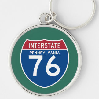 Pennsylvania PA I-76 Interstate Highway Shield - Silver-Colored Round Keychain
