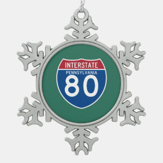 Pennsylvania PA I-80 Interstate Highway Shield - Snowflake Pewter Christmas Ornament