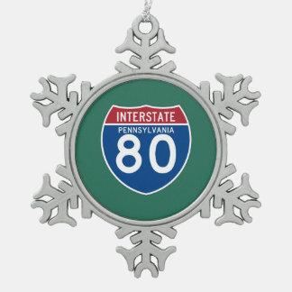 Pennsylvania PA I-80 Interstate Highway Shield - Snowflake Pewter Christmas Ornament