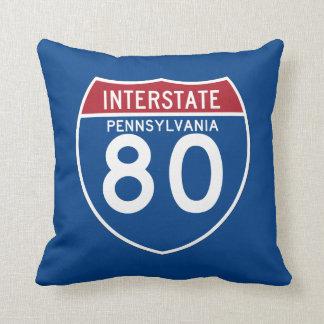 Pennsylvania PA I-80 Interstate Highway Shield - Throw Pillow