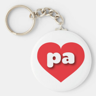 Pennsylvania pa red heart basic round button keychain