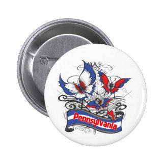 Pennsylvania Patriotism Butterfly 2 Inch Round Button