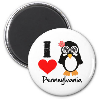 Pennsylvania Penguin - I Love Pennsylvania 2 Inch Round Magnet