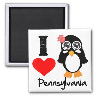 Pennsylvania Penguin - I Love Pennsylvania 2 Inch Square Magnet