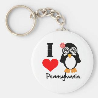 Pennsylvania Penguin - I Love Pennsylvania Basic Round Button Keychain