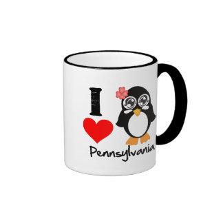 Pennsylvania Penguin - I Love Pennsylvania Ringer Coffee Mug