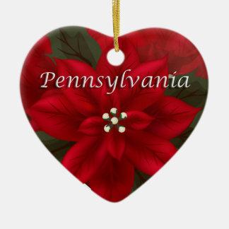 Pennsylvania Poinsettia Heart  Keepsake Ornament