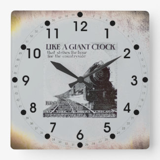 Pennsylvania Railroad Broadway Limited 1929 Square Wall Clock