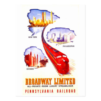 Pennsylvania Railroad Broadway Limited Streamliner Postcard