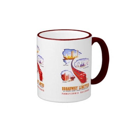 Pennsylvania Railroad Broadway Limited Streamliner Ringer Coffee Mug
