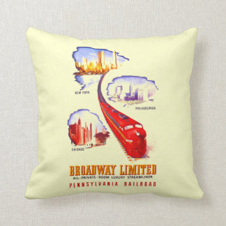 Pennsylvania Railroad Broadway Limited Streamliner Throw Pillow