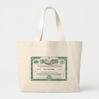 Pennsylvania Railroad CUSTOM Stock Certificate Canvas Bag