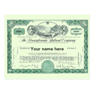 Pennsylvania Railroad CUSTOM Stock Certificate Postcard