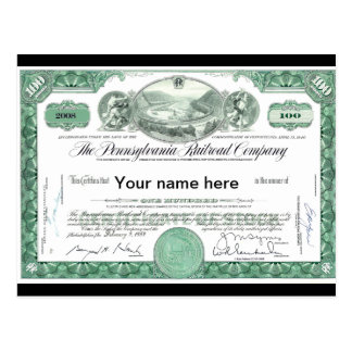 Pennsylvania Railroad CUSTOM Stock Certificate Postcard