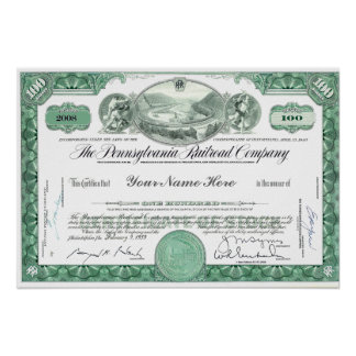 Pennsylvania Railroad CUSTOM Stock Certificate Poster