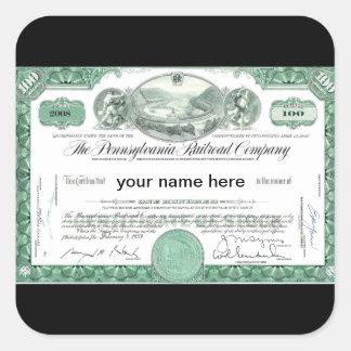 Pennsylvania Railroad CUSTOM Stock Certificate Square Sticker