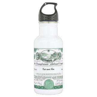 Pennsylvania Railroad CUSTOM Stock Certificate Water Bottle