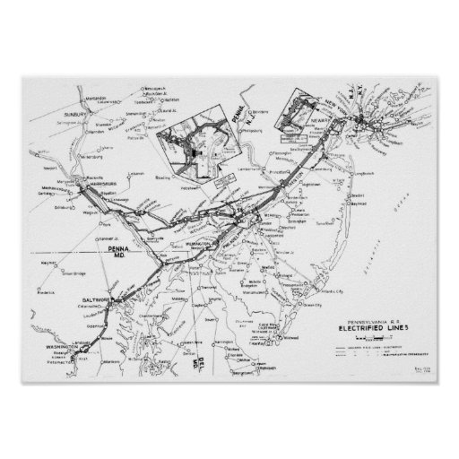 Pennsylvania Railroad Electrified Lines Map 1956 Print