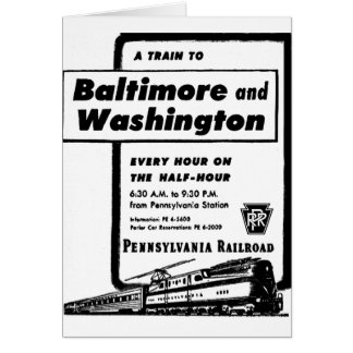 Pennsylvania Railroad Hourly Trains 1948 Stationery Note Card