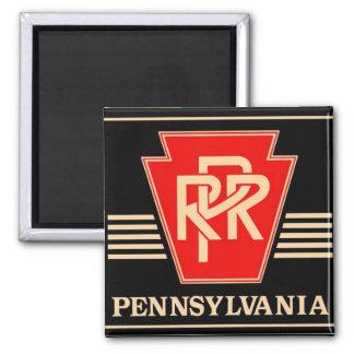 Pennsylvania Railroad Keystone, Black & Gold 2 Inch Square Magnet