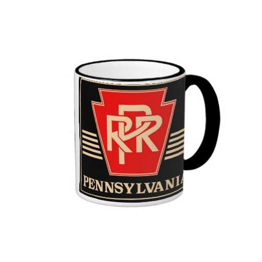 Pennsylvania Railroad Keystone Black & Gold Coffee Mugs