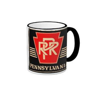 Pennsylvania Railroad Keystone Black & Gold Ringer Coffee Mug