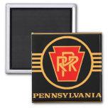Pennsylvania Railroad Logo, Black & Gold 2 Inch Square Magnet