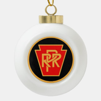Pennsylvania Railroad Logo, Black & Gold Ceramic Ball Christmas Ornament