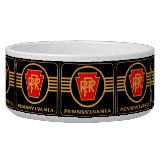 Pennsylvania Railroad Logo, Black & Gold Dog Bowl