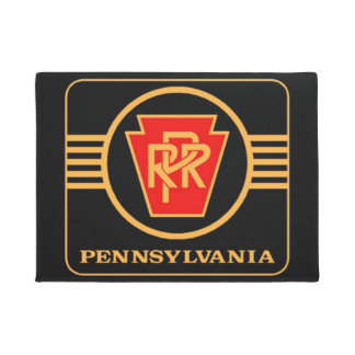 Pennsylvania Railroad Logo, Black & Gold Doormat