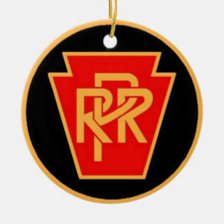 Pennsylvania Railroad Logo, Black & Gold Double-Sided Ceramic Round Christmas Ornament