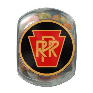 Pennsylvania Railroad Logo, Black & Gold Glass Candy Jars