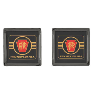 Pennsylvania Railroad Logo, Black & Gold Gunmetal Finish Cufflinks